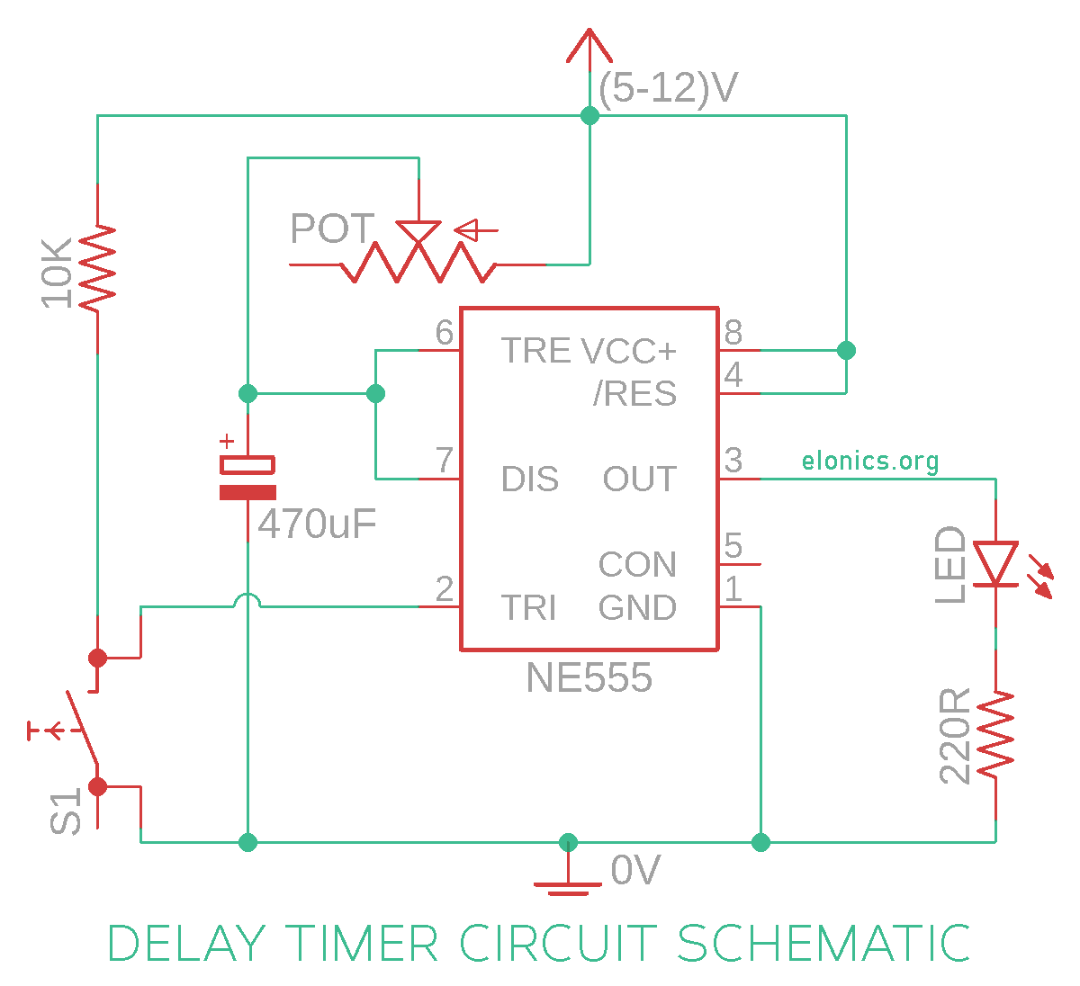 Adjustable Auto On Off Delay Timer Circuit Using 555 Ic Elonics