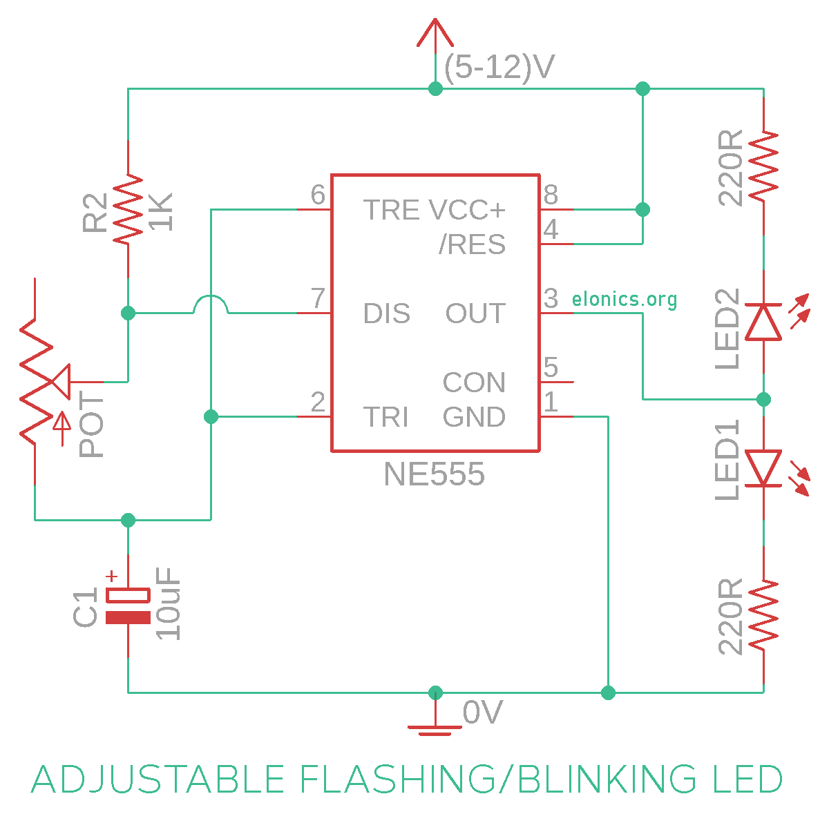 Adjustable Dual Flashing LED Circuit Using 555 Timer