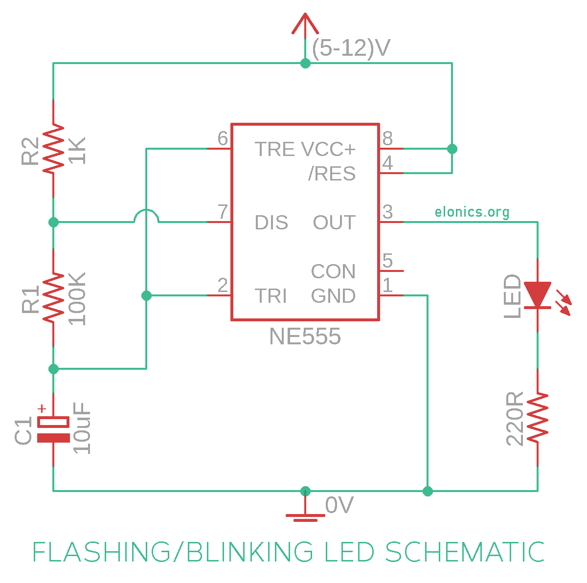 schematic of blinking led circuit using 555 timer