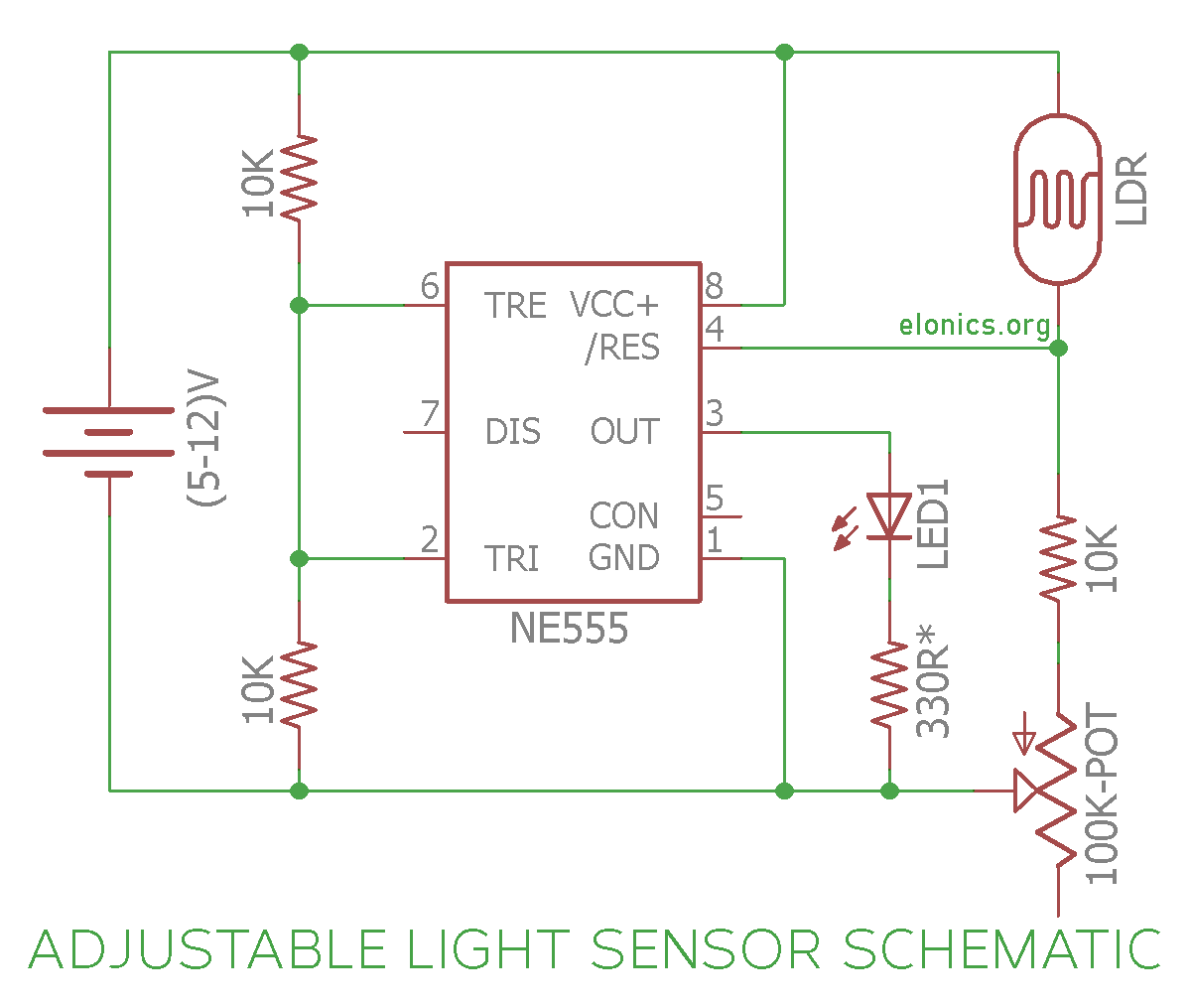 Adjustable Light Sensor/Detector Circuit Diagram