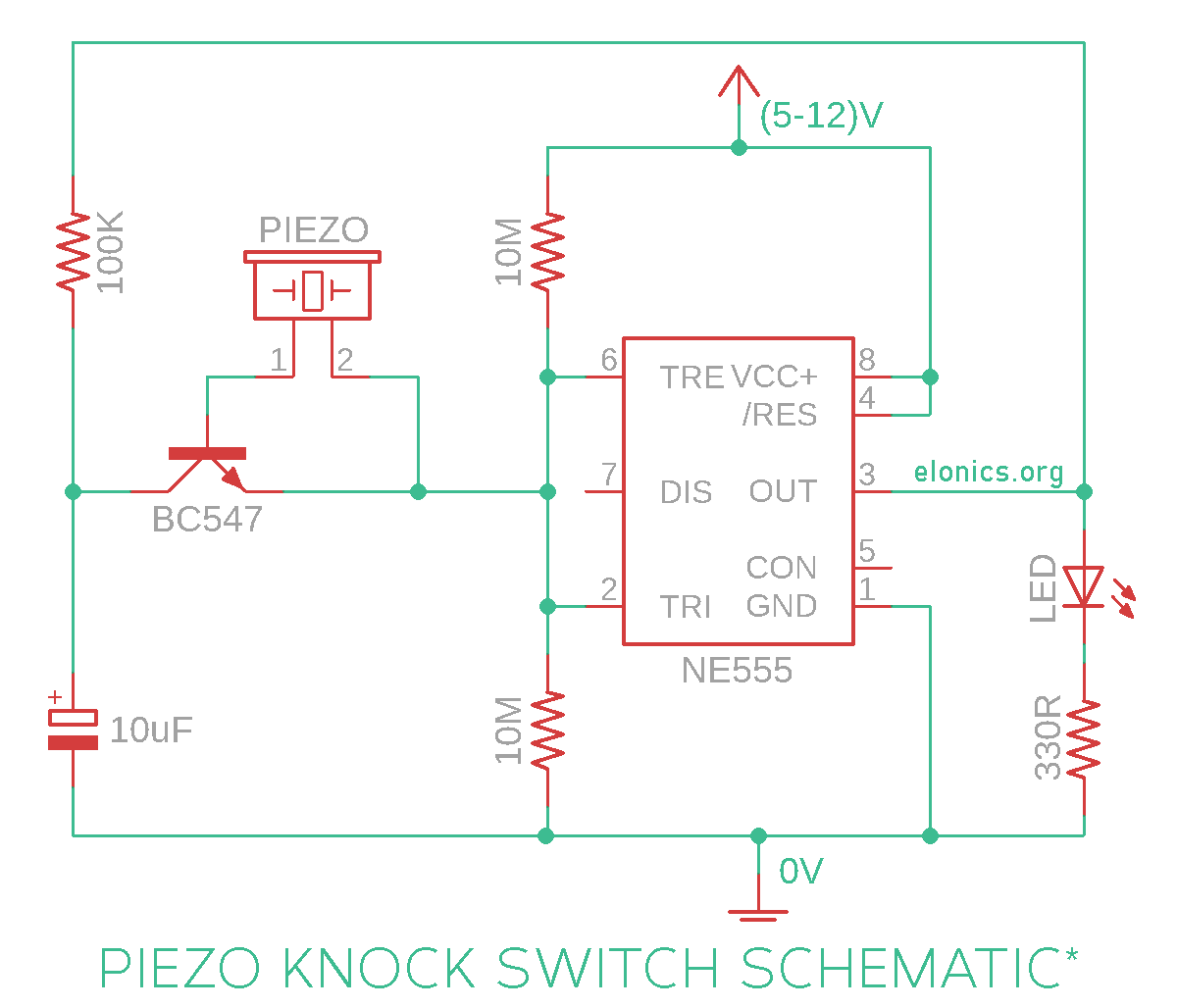 Piezo Electric Knock On-Off Sensor Switch Circuit Using 555 ... on
