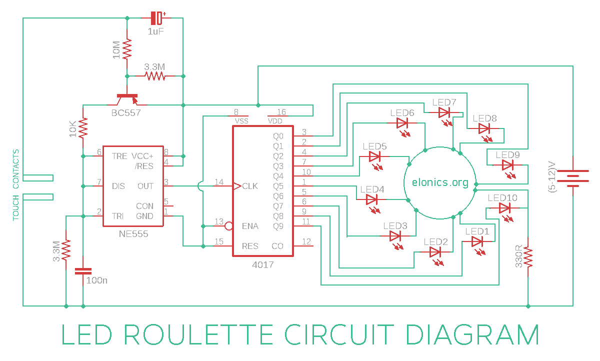 Rotating LED Roulette Circuit Using 555 timer 4017 IC and transistor