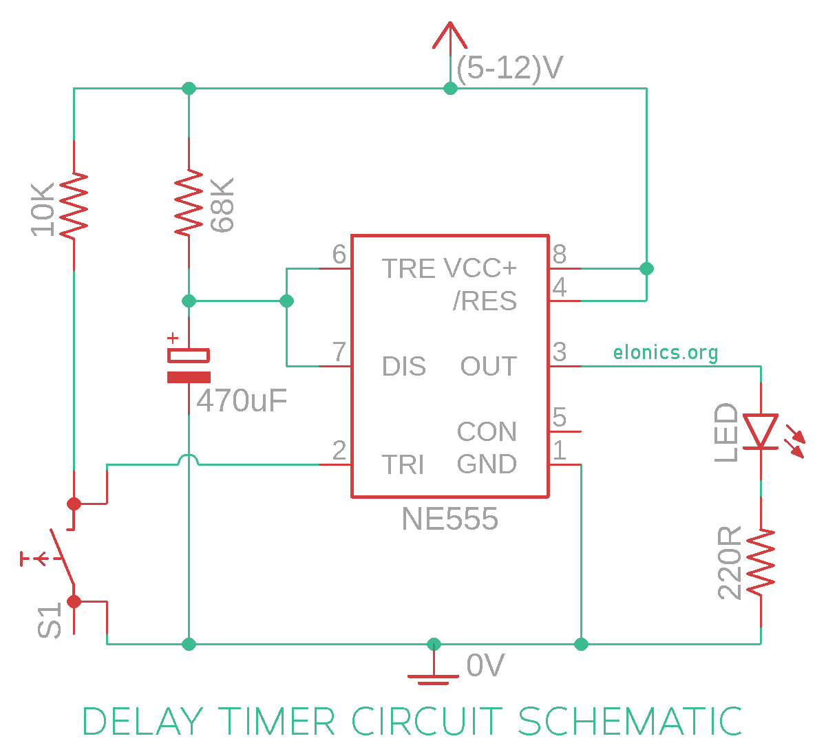 Adjustable Auto On Off Delay Timer Circuit Using 555 Ic