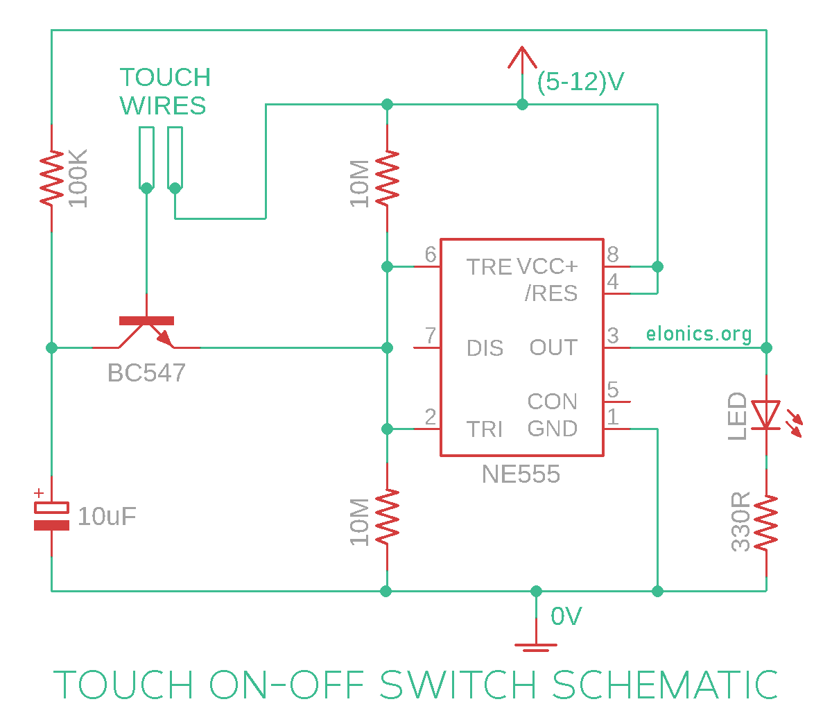 Schematic of Touch On Touch Off Latching Sensor Switch Circuit Using 555 Timer IC